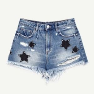 Zara Denim Cut Off Shorts with Studded Star Patch